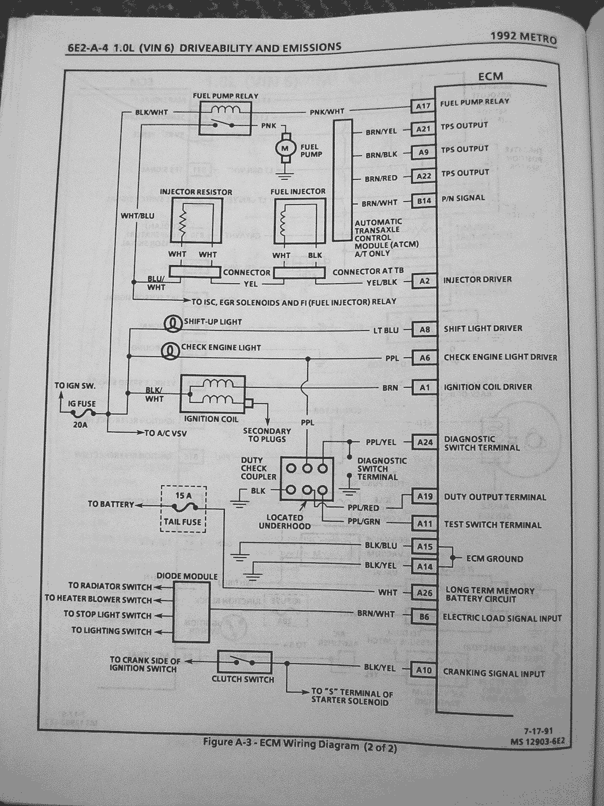 6e2 a 4 geo metro and suzuki swift wiring diagrams metroxfi com Wiring-Diagram 1995 Geo Metro at bayanpartner.co